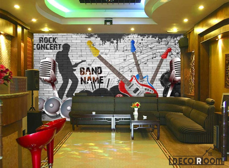 Black And White Brick Wall Drawing Electric Guitars Music Rock Restaurant Living Room Art Wall Murals Wallpaper Decals Prints Decor IDCWP-JB-001255