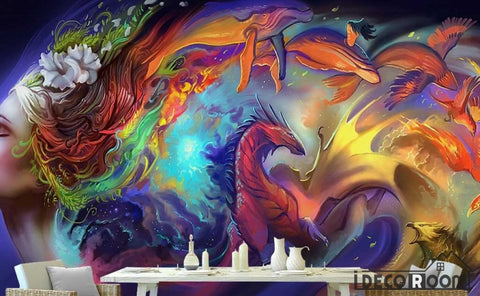 Image of Colorful Graphic Design Woman With Rainbow Hair Dragon Living Room Restaurant Art Wall Murals Wallpaper Decals Prints Decor IDCWP-JB-001257