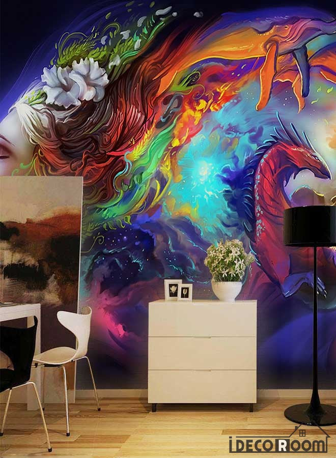 Colorful Graphic Design Woman With Rainbow Hair Dragon Living Room Restaurant Art Wall Murals Wallpaper Decals Prints Decor IDCWP-JB-001257