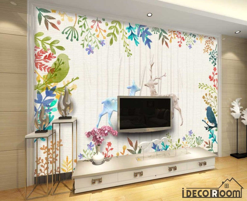 Wall Murals For Living Room | Vintage Drawing Dears Flowers Living Room Art Wall Murals