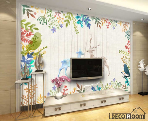 Vintage Drawing Dears Flowers Living Room Art Wall Murals Wallpaper Decals Prints Decor IDCWP-JB-001262