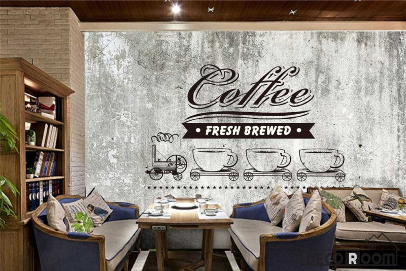 Black Wall Drawing Coffee Fresh Brewed Restaurant Art Wall Murals Wallpaper  Decals Prints Decor IDCWP