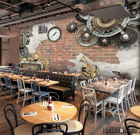 Image of 3D Gears On Red Brick Wall Restaurant Art Wall Murals Wallpaper Decals Prints Decor IDCWP-JB-001266
