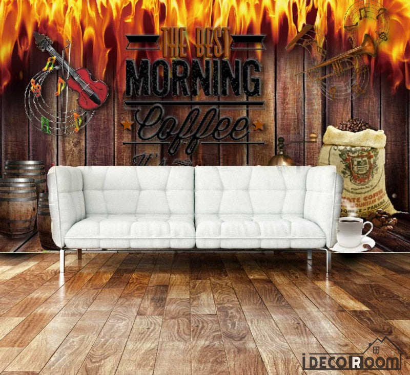 living room wall murals. Wooden Wall On Fire Morning Coffee Living Room Art Murals Wallpaper  Decals Prints Decor IDCWP