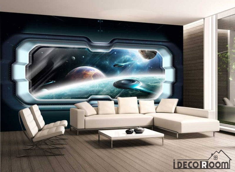 View space planets living room art wall murals wallpaper for Living room jb
