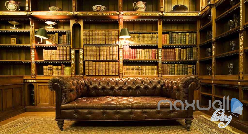 3D Retro Sofa Bookcase Libary Wall Paper Mural Art Print Decals Office Decor IDCWP-SJ-000002