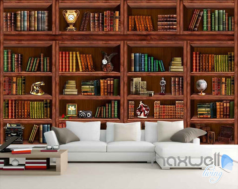 3D Retro Vintage Book Shelf Wall Paper Mural Art Print Decals Office Decor IDCWP-SJ-000003