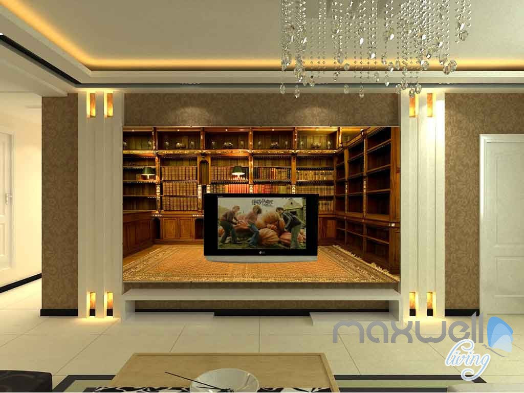3D Classic Office Bookcase Wall Paper Mural Art Print Decals Business Decor IDCWP-SJ-000004