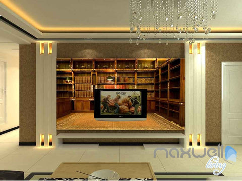 Image of 3D Classic Office Bookcase Wall Paper Mural Art Print Decals Business Decor IDCWP-SJ-000004