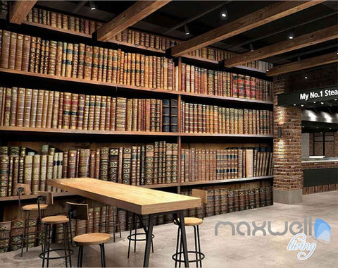 Image of 3D Retro Old Books Library Wall Paper Mural Art Print Decals Office Decor IDCWP-SJ-000005