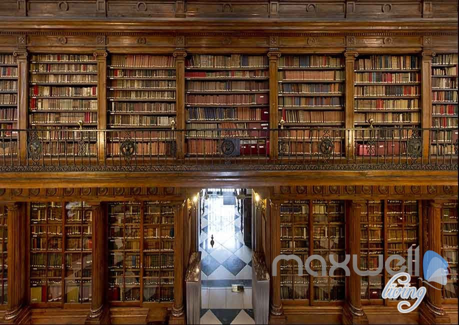 3D Old Library Books Shelf Wall Paper Mural Art Print Decals Office Decor IDCWP-SJ-000006