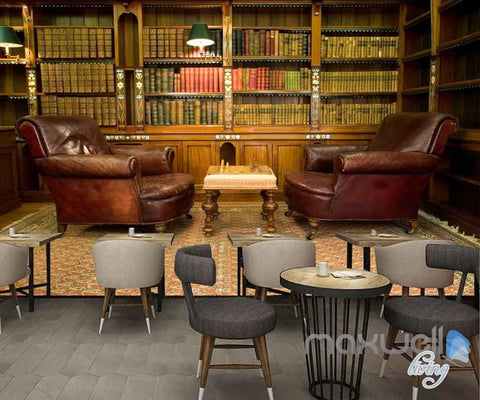 Image of 3D Sofa Chess Books Library Wall Paper Mural Art Print Decals Office Decor IDCWP-SJ-000008