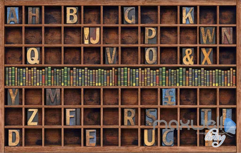 Image of 3D Retro Alphabet Bookcase Wall Paper Mural Art Print Decals Business Decor IDCWP-SJ-000009