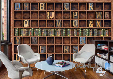 3D Retro Alphabet Bookcase Wall Paper Mural Art Print Decals Business Decor IDCWP-SJ-000009