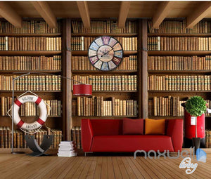 3D Retro Clock Book Shelf Wall Paper Mural Art Print Decals Business Decor IDCWP-SJ-000010