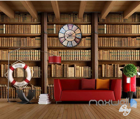 Image of 3D Retro Clock Book Shelf Wall Paper Mural Art Print Decals Business Decor IDCWP-SJ-000010