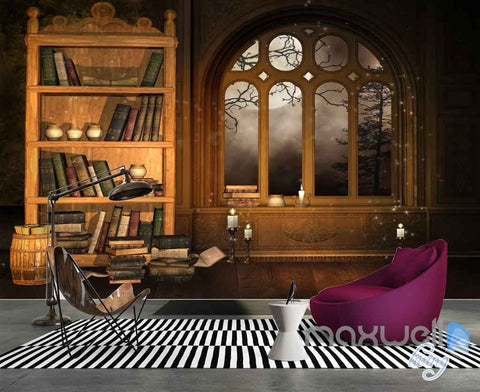 Image of 3D Fog Windows Bookcase Wall Paper Mural Art Print Decals Office Decor IDCWP-SJ-000011