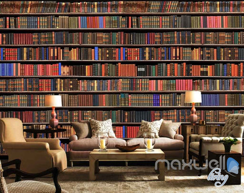 3D Large Realistic Books Wall Paper Mural Art Print Decals Business Decor IDCWP-SJ-000012