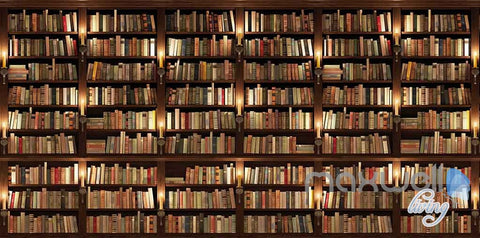 Image of 3D Huge Bookcase Books High Wall Paper Mural Art Print Decals Business Decor IDCWP-SJ-000013