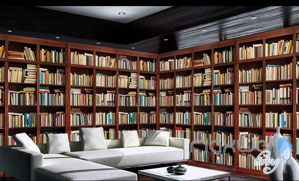 3D Tall Bookshelf Books Display Wall Paper Mural Art Print Decals Office Decor  IDCWP-SJ-000014