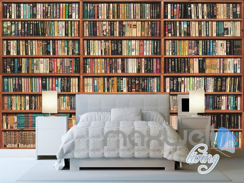 3D Full Books Bookshelf Book case Wall Paper Mural Art Print Decals Office Decor IDCWP-SJ-000015