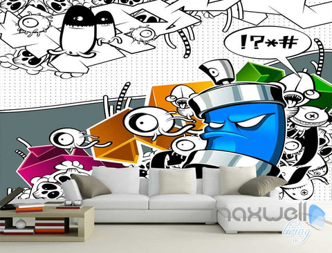 Image of 3D Graffiti Angry Bin Wall Paper Murals Art Print Wall Decals Decor IDCWP-TY-000002