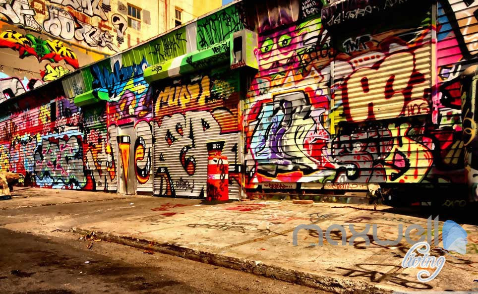 3D Graffiti Street Wall Paper Murals Art Print Wall Decals Decor IDCWP-TY-000003
