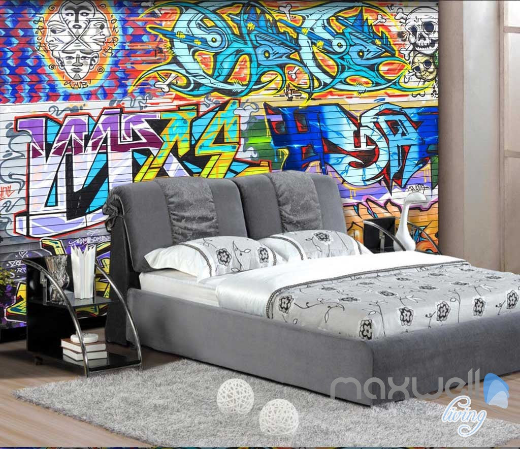 3D Graffiti Brick Skull Wall Paper Murals Art Print Decals Decor IDCWP-TY-000004