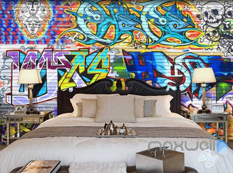 Image of 3D Graffiti Brick Skull Wall Paper Murals Art Print Decals Decor IDCWP-TY-000004