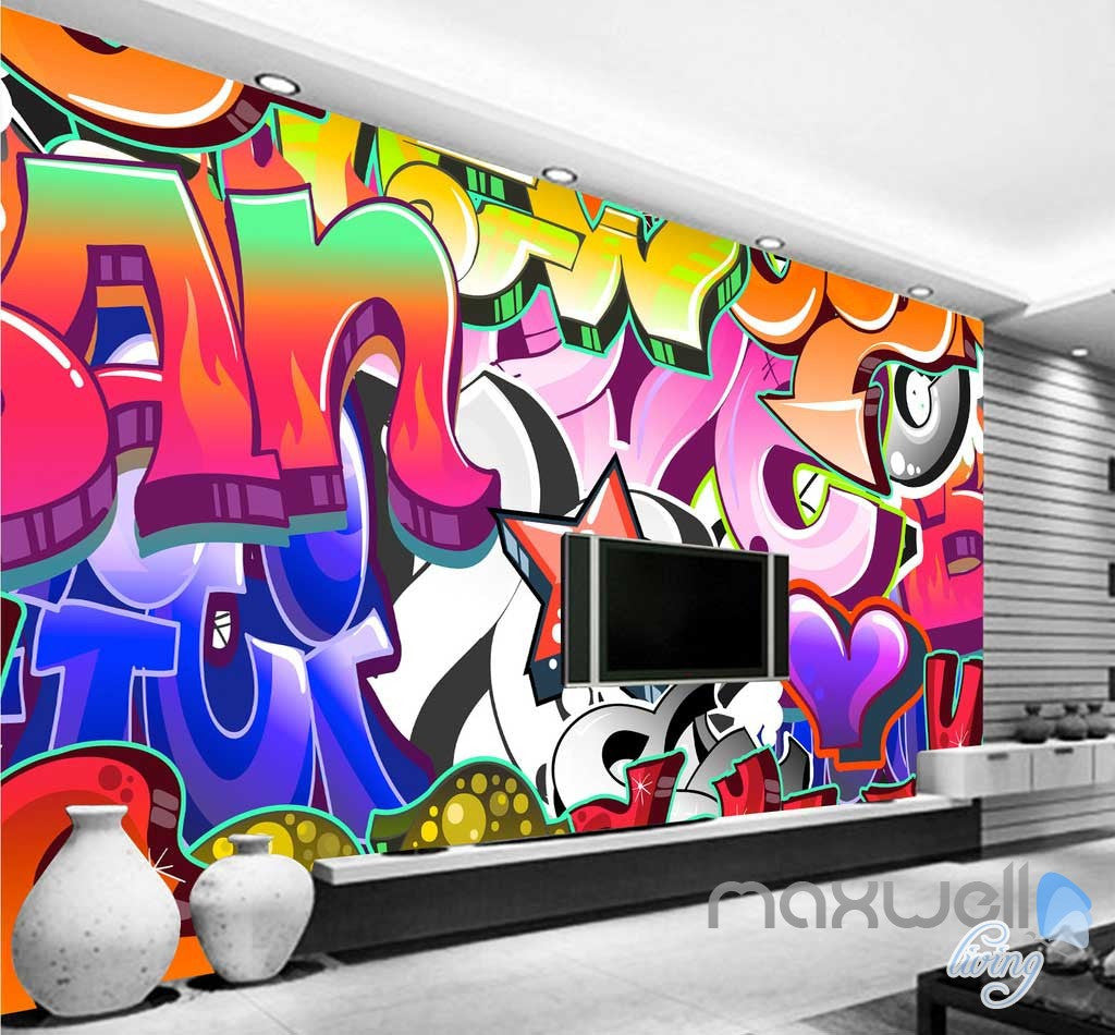 3D Graffiti Letters Star Wall Murals Paper Art Print Decals Decor IDCWP-TY-000007