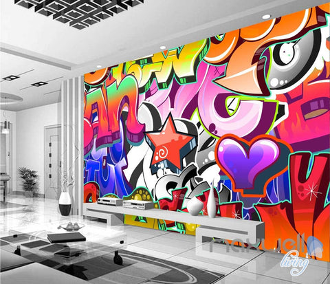 Image of 3D Graffiti Letters Star Wall Murals Paper Art Print Decals Decor IDCWP-TY-000007