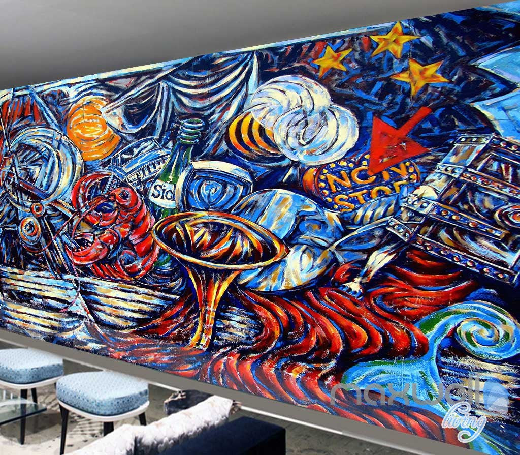 3D Graffiti Urban Paint Wall Murals Paper Art Print Decals Decor IDCWP-TY-000008