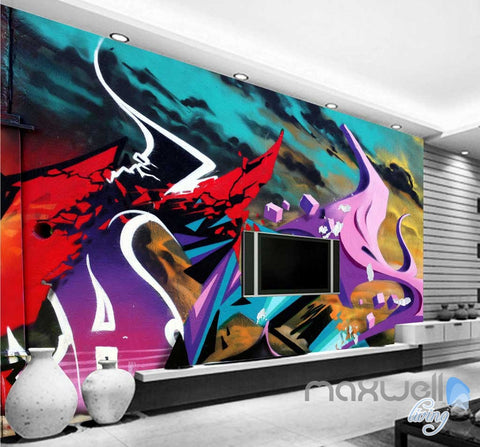 Image of 3D Graffiti Abstract Fire Wall Murals Paper Art Print Decals Decor IDCWP-TY-000010
