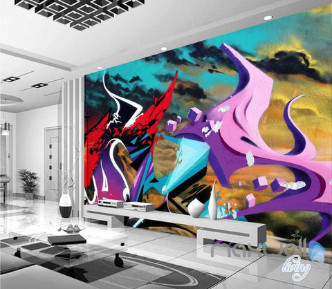 3D Graffiti Abstract Fire Wall Murals Paper Art Print Decals Decor IDCWP-TY-000010