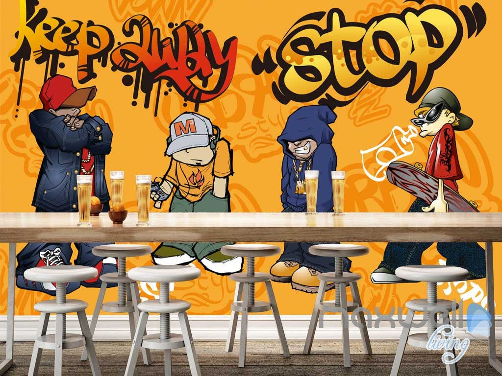 3D Graffiti Boys Stop Wall Mural Paper Art Print Decals Decor IDCWP-TY-000014
