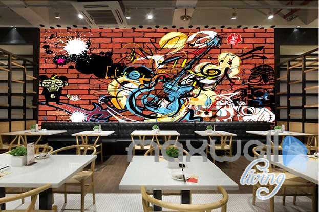 3d Graffiti Music Guitar Wall Mural Paper Art Print Decals Decor