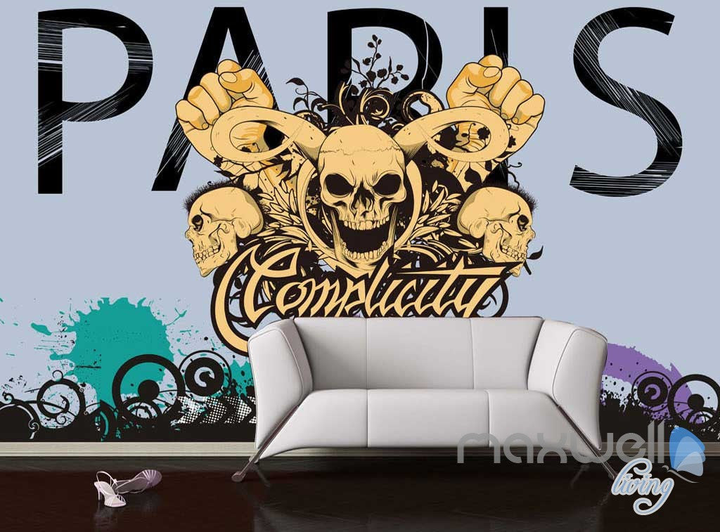 3D Graffiti Skull Wall Mural Paper Art Print Decals Decor IDCWP-TY-000018