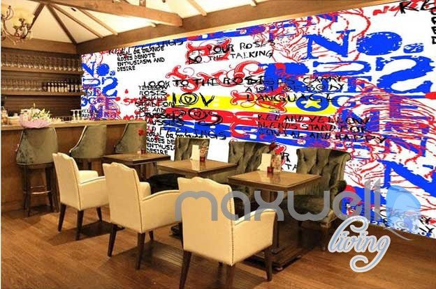3D Graffiti Code Wall Mural Paper Art Print Decals Decor Living Room IDCWP-TY-000020