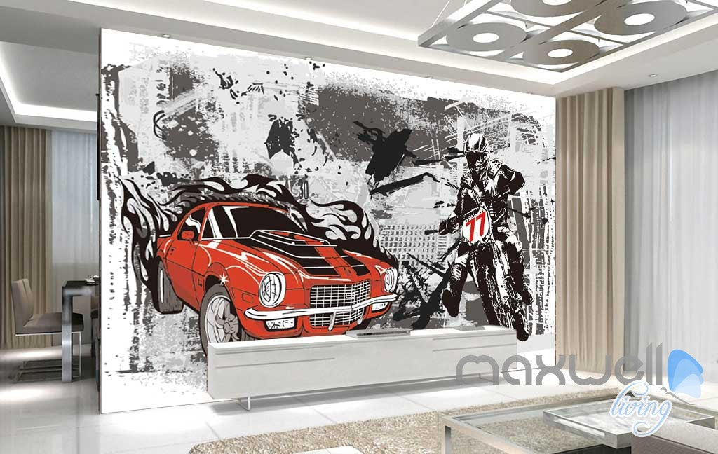 3D Retro Racing Car Motorbike Wall Mural Paper Art Print Decals IDCWP-TY-000021