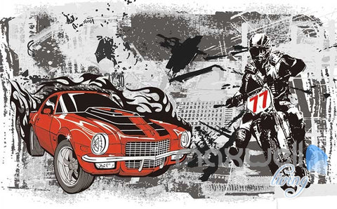 Image of 3D Retro Racing Car Motorbike Wall Mural Paper Art Print Decals IDCWP-TY-000021