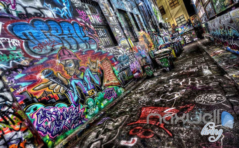 Image of 3D Graffiti Backstreet Wall Mural Paper Art Print Decals Decor IDCWP-TY-000022