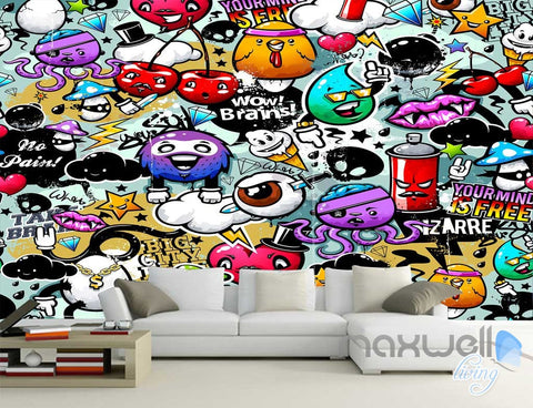 Image of 3D Cartoon Cherry Wall Art Mural Paper Print Decals Decor IDCWP-TY-000023