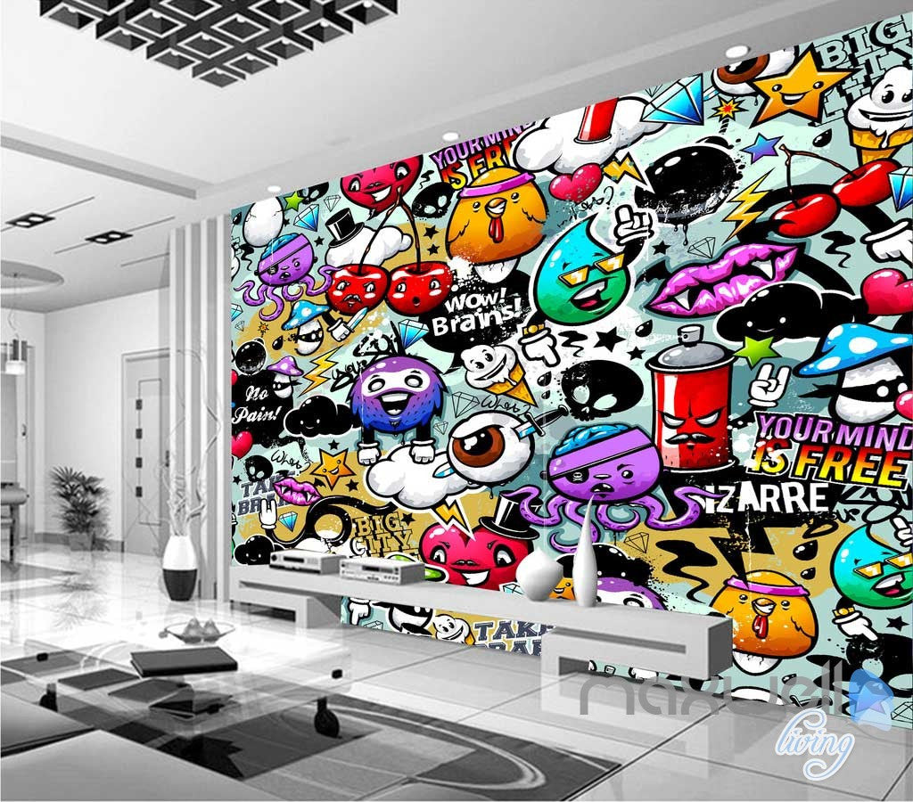 3D Cartoon Cherry Wall Art Mural Paper Print Decals Decor IDCWP-TY-000023