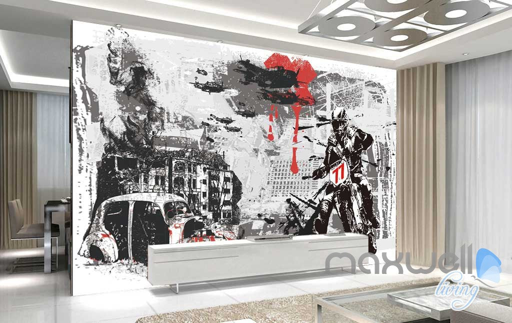 Black White Red Urban Motorbike Wall Mural Paper Art Print Decals Decor IDCWP-TY-000026