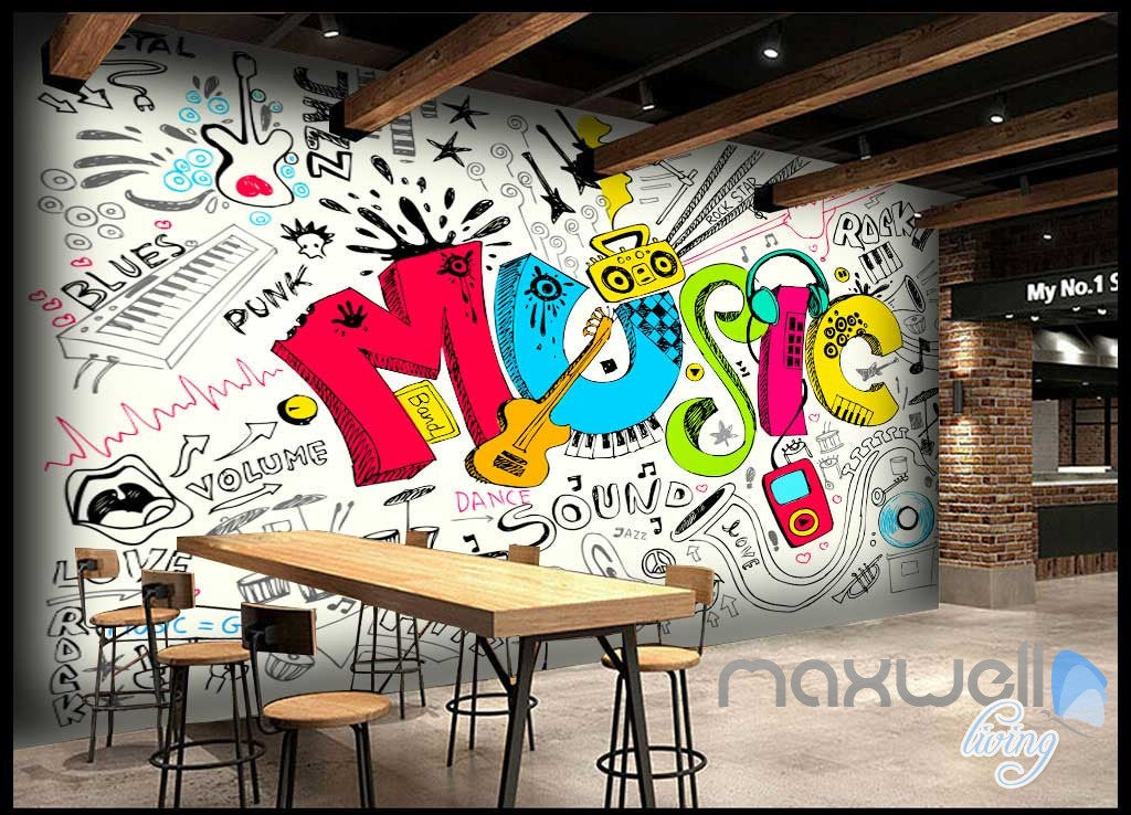 3D Music Earphone Keyboard Wall Murals Paper Art Print Decals Decor Wallpaper IDCWP-TY-000027