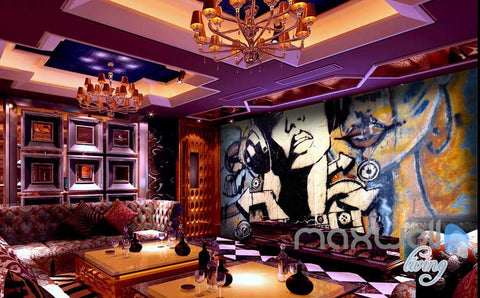 Image of Retro Art Graffiti DJ Wall Murals Paper Art Print Decals Decor Wallpaper IDCWP-TY-000031