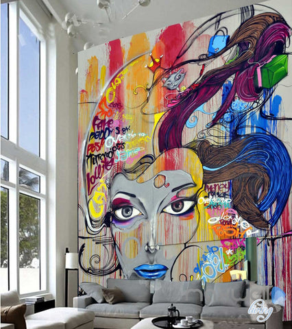 Image of Abstract Graffiti Cat Woman Wall Murals Paper Art Print Decals Decor IDCWP-TY-000033