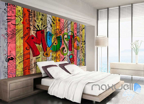 Image of 3D Graffiti Music Color Board Wall Murals Paper Art Print Decals Decor Wallpaper IDCWP-TY-000036