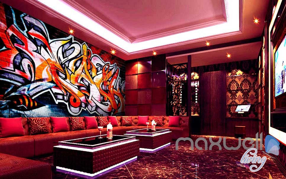 3D Graffiti Brick Wall Art Murals Print Decals Decor Pub Bar Wallpaper IDCWP-TY-000038