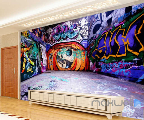 Image of 3D Graffiti Backstreet Pumpkin Head Wall Mural Paper Art Print Pub Bar Decals IDCWP-TY-000040